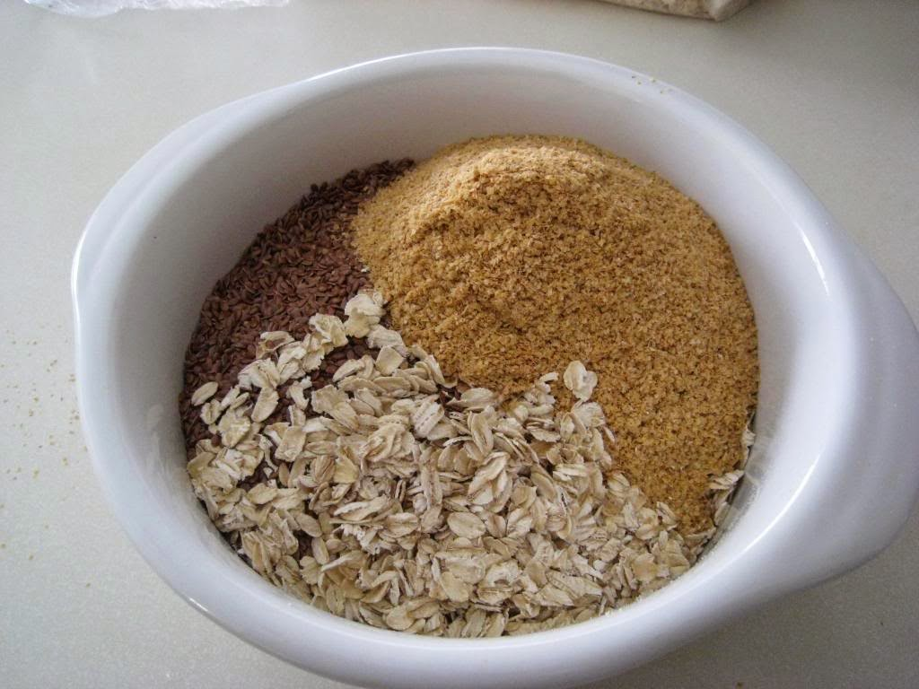 white bowl with ground wheat germ, oats and spices
