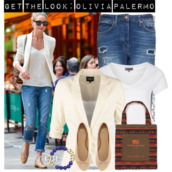 Get the look of Olivia Palermo in ripped boyfriend jeans + white blazer. Visit www.forarealwoman.com