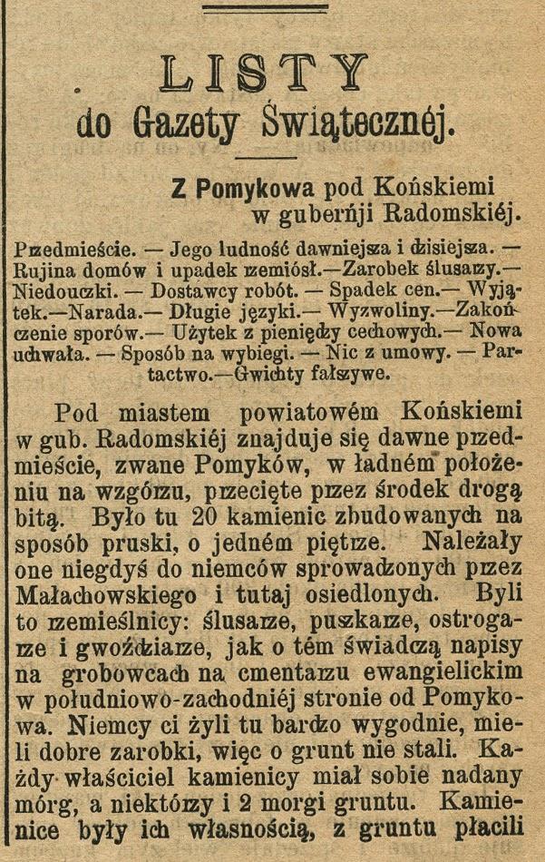 Gazeta Świąteczna z 19.08.1894. Fragment artykułu dotyczącego Pomykowa, osadników niemieckich i cmentarzyka. Gazeta w zbiorach KW.