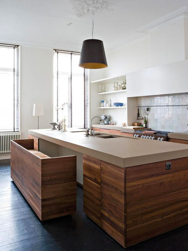 contemporary reclaimed wood kitchen island with space saving pull out bench