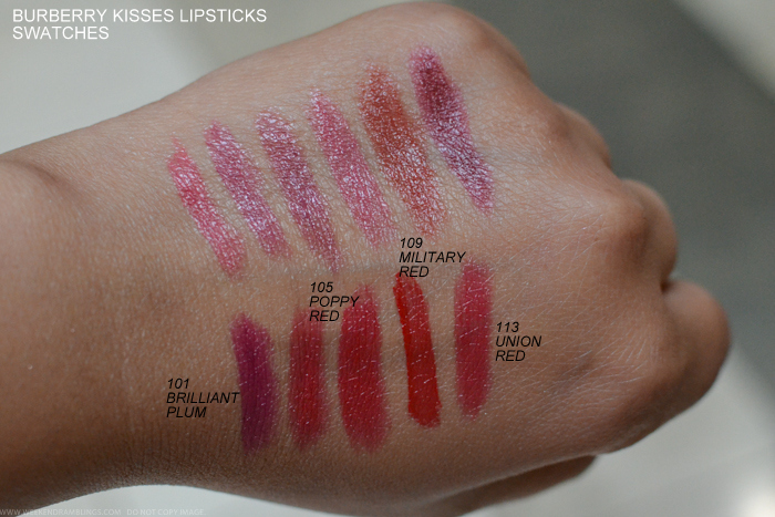 Burberry Kisses Lipsticks - Swatches 101 Bright Plum 105 Poppy Red 109 Military Red 113 Union Red