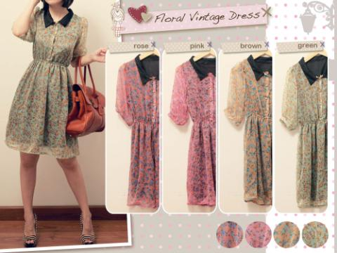 Contoh Dress Pesta Bahan Sifon Motif Bunga