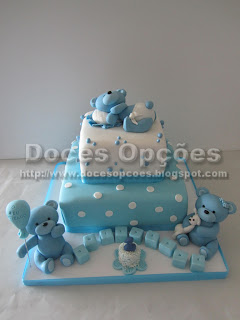 bolo aniversário ursinhos azul