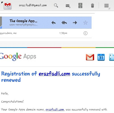 Registration of erazfadli.com successfully renewed