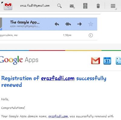 Registration of erazfadli.com successfully renewed