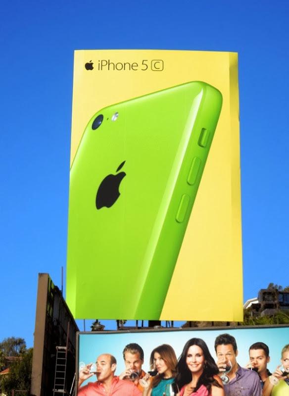 Giant green yellow iPhone 5c billboard