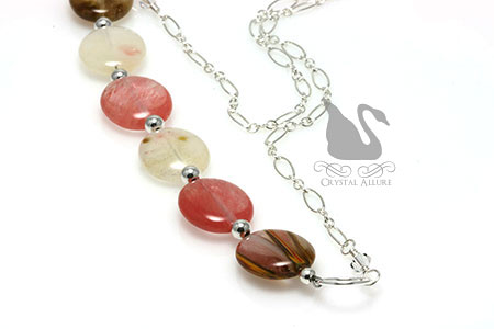 Golden Strawberry Quartz Gemstone Bead Necklace (N096), shown at a different angle