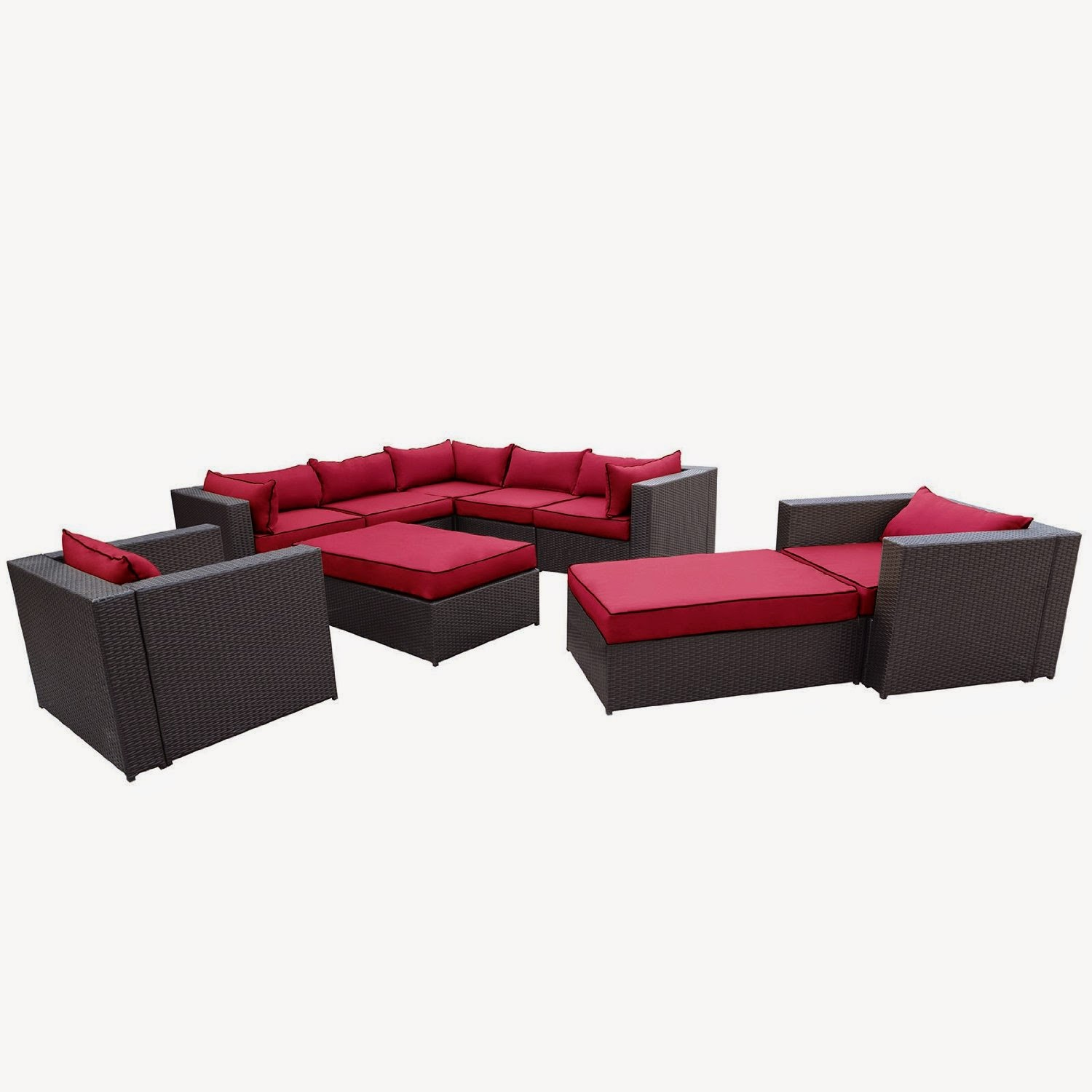 Outdoor patio rattan wicker furniture sectional sofa for Furniture 2 u