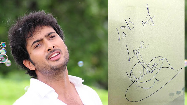 Hero Uday Kiran Autograph images