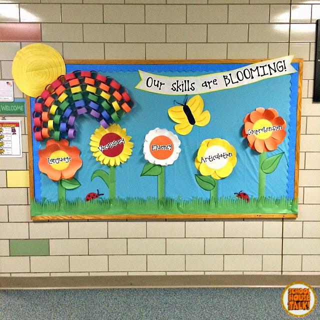 Speech Language Classroom Decorations ~ Schoolhouse talk spring bulletin board