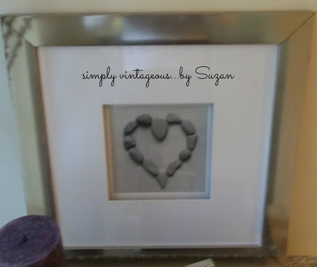 heart, stones, wall art, silver frame