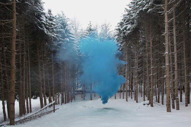 Silence/Shapes no.11 by Filippo Minelli, an ongoing series of photos taken all over the world. fantasy photography forest, colored smoke, yellow smoke, smoke bomb, smoke grenade, photography