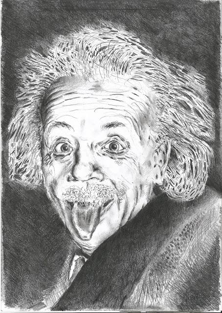 Andreas Blauth Zeichnungen Bleistiftzeichnung Albert Einstein Zunge
