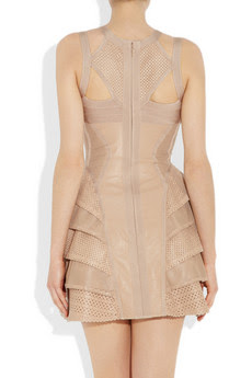 Taupe Perforated Leather Bandage Dress