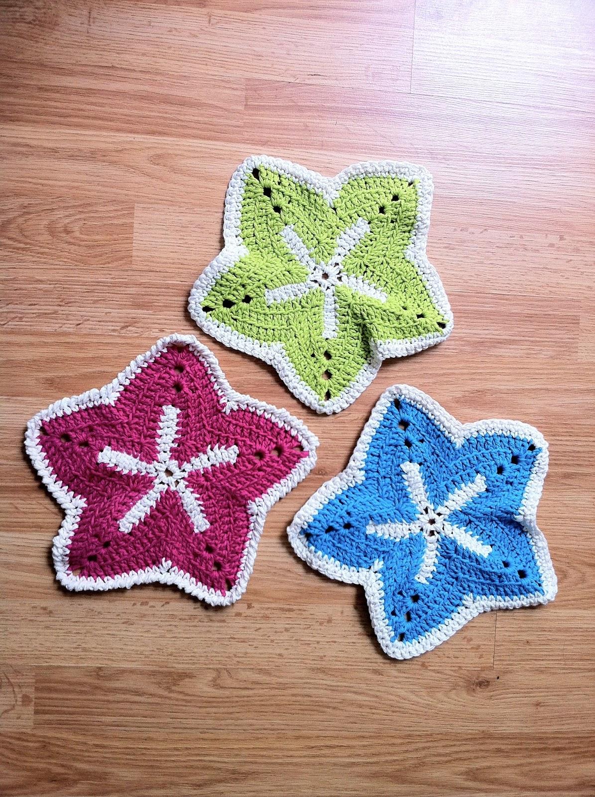 Free Crochet Starfish Dishcloth Pattern : Crochet Starfish Washcloth The Way I Crochet