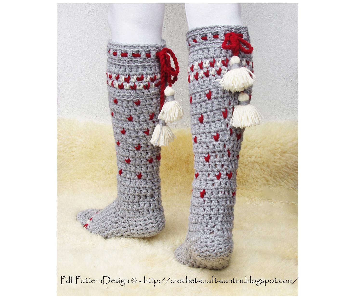 Knee High Crochet Winter Socks