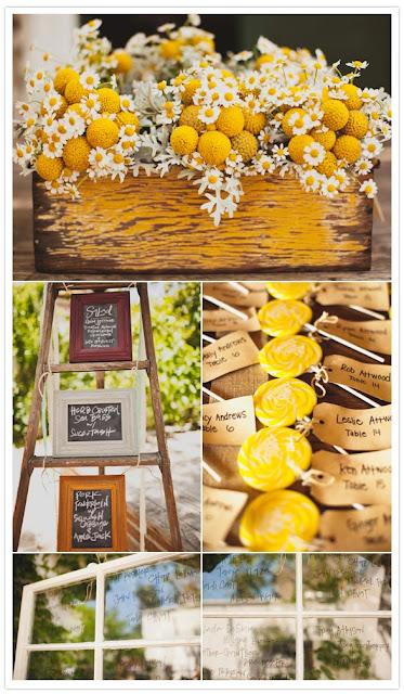 semplicemente perfetto wedding idee segna tavoli bottoni giallo bianco