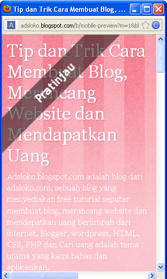 Gambar 1 Templates Blog Mode Seluler