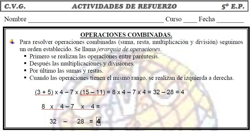 Ejercicios de operaciones combinadas para imprimir|MUCHO MÁS QUE ...