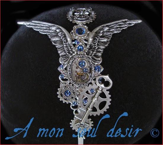 bijouterie steampunk horlogerie mécanisme rouages engrenages serre tête bijou cheveux mouvement de montre