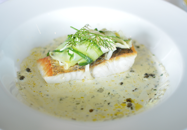 Kensington roof gardens, Review, Babylon restaurant, Pan fried hake fillet