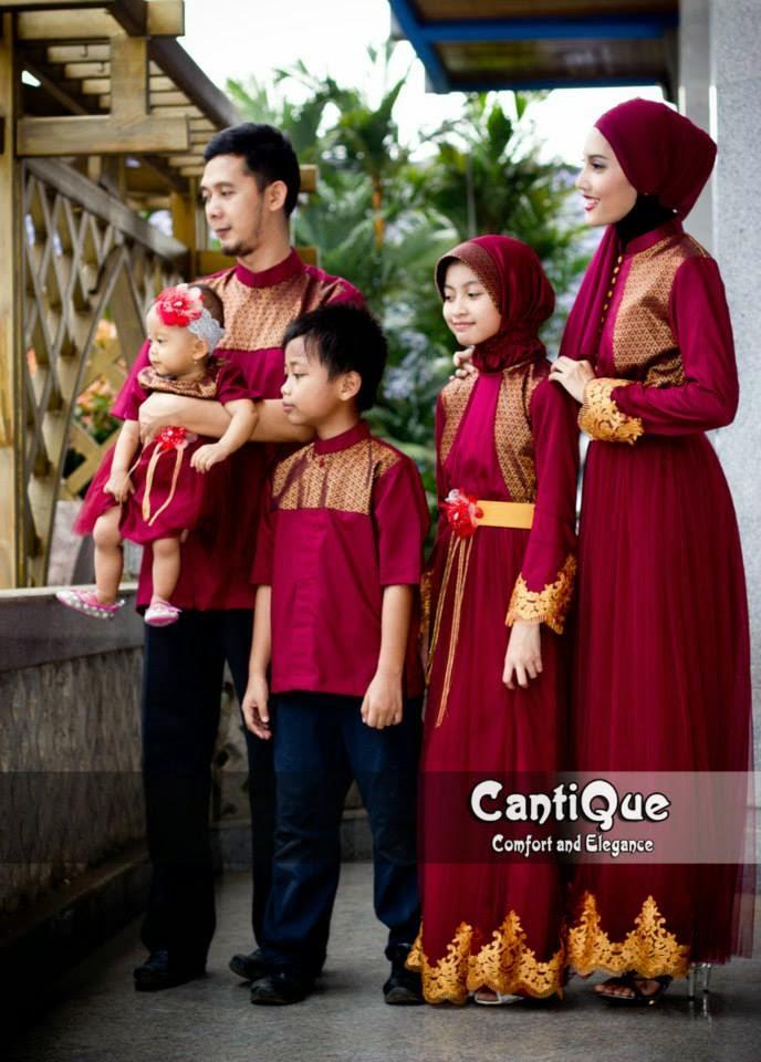 Model Baju Muslim Keluarga Sarimbit warna merah