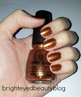 Swatches of China Glaze nail polish in Harvest Moon (The Hunger Games Collection)