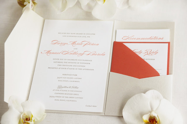 Letterpress wedding invitations coral and grey