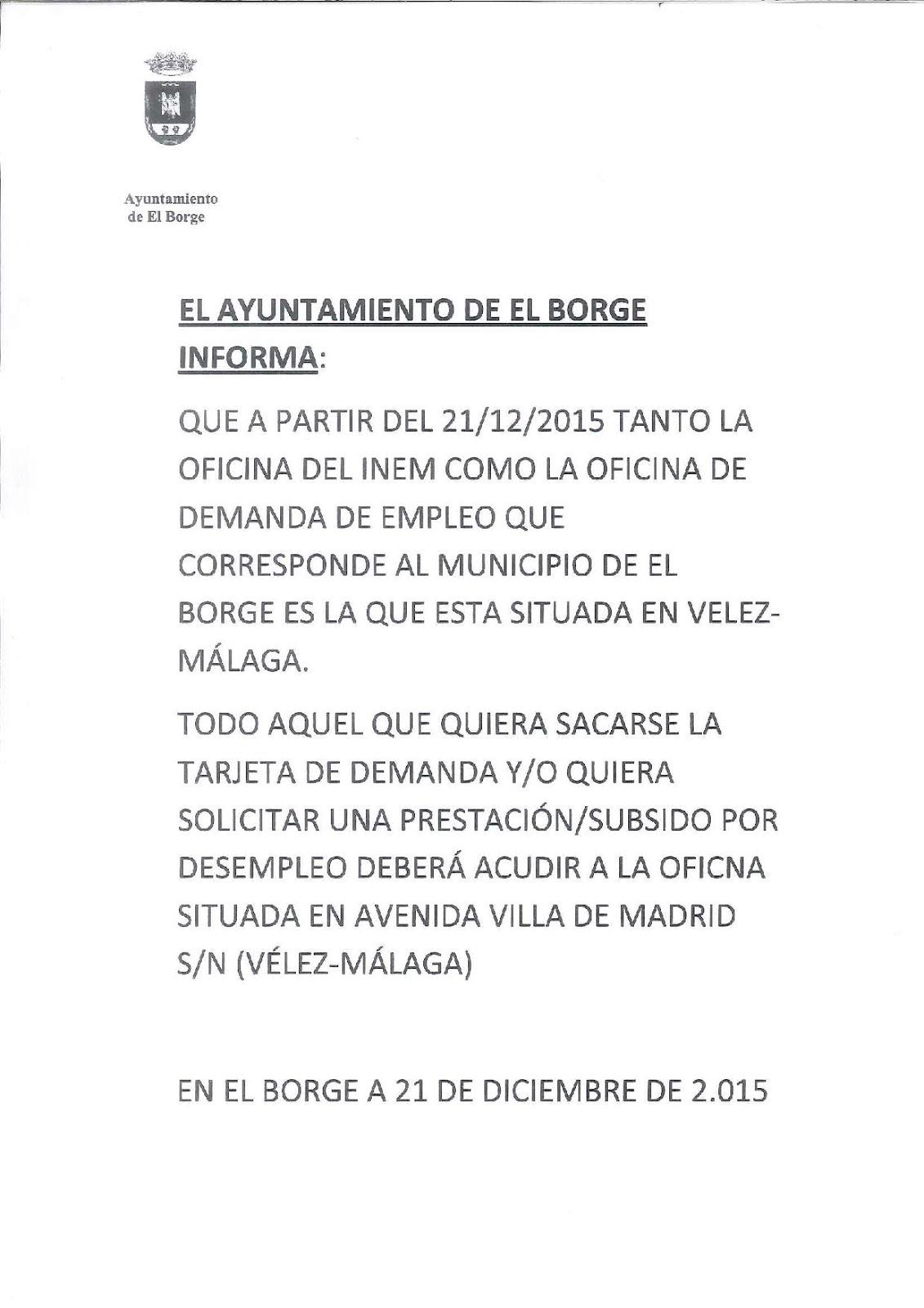 Blog ayuntamiento de el borge diciembre 2015 for Oficina de empleo mas cercana