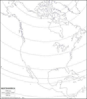 Mapa mudo de America del Norte. Silueta de Norteamerica