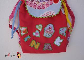 Detalle mochila de tela personalizada Ainara Pikapic