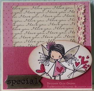 Pink handmade stamped card with Me & My Big Ideas paper, liquid pearls, stickles and microbeads