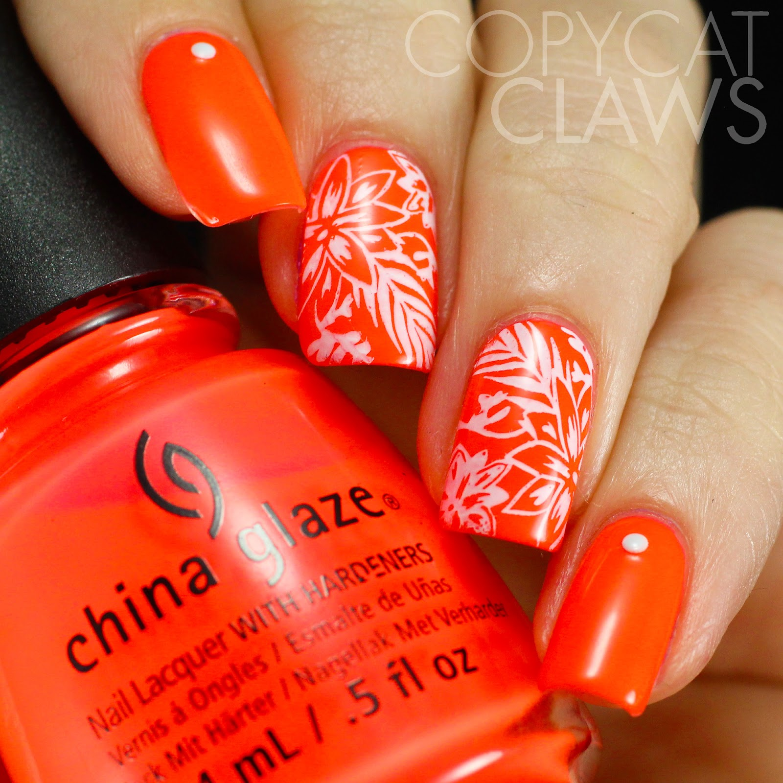 Copycat Claws: China Glaze Pool Party with Tropical Stamping