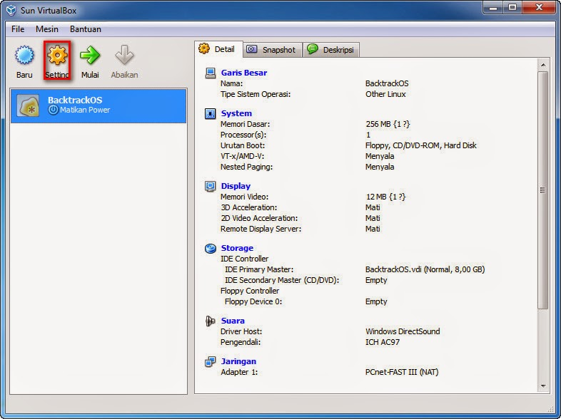 Cara Instal Backtrack BT5R3-GNOME-32 Di VirtualBox.
