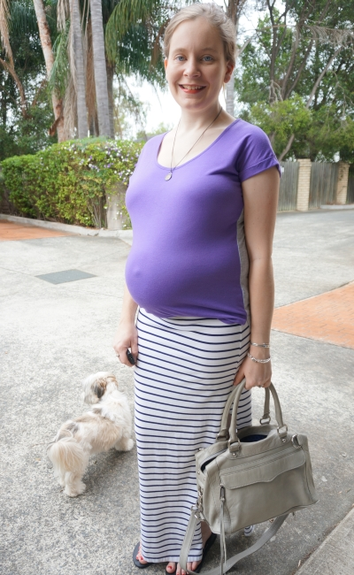 AwayFromTheBlue | Second Trimester Summer stripe maxi skirt purple tee pregnancy outfit