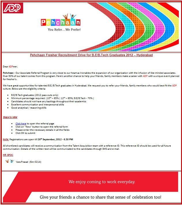 JOBs Search Hub ADP Employee Referral Drive For B E B Tech 2012