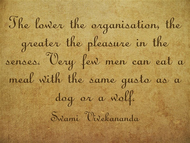 """The lower the organisation, the greater the pleasure in the senses. Very few men can eat a meal with the same gusto as a dog or a wolf."""