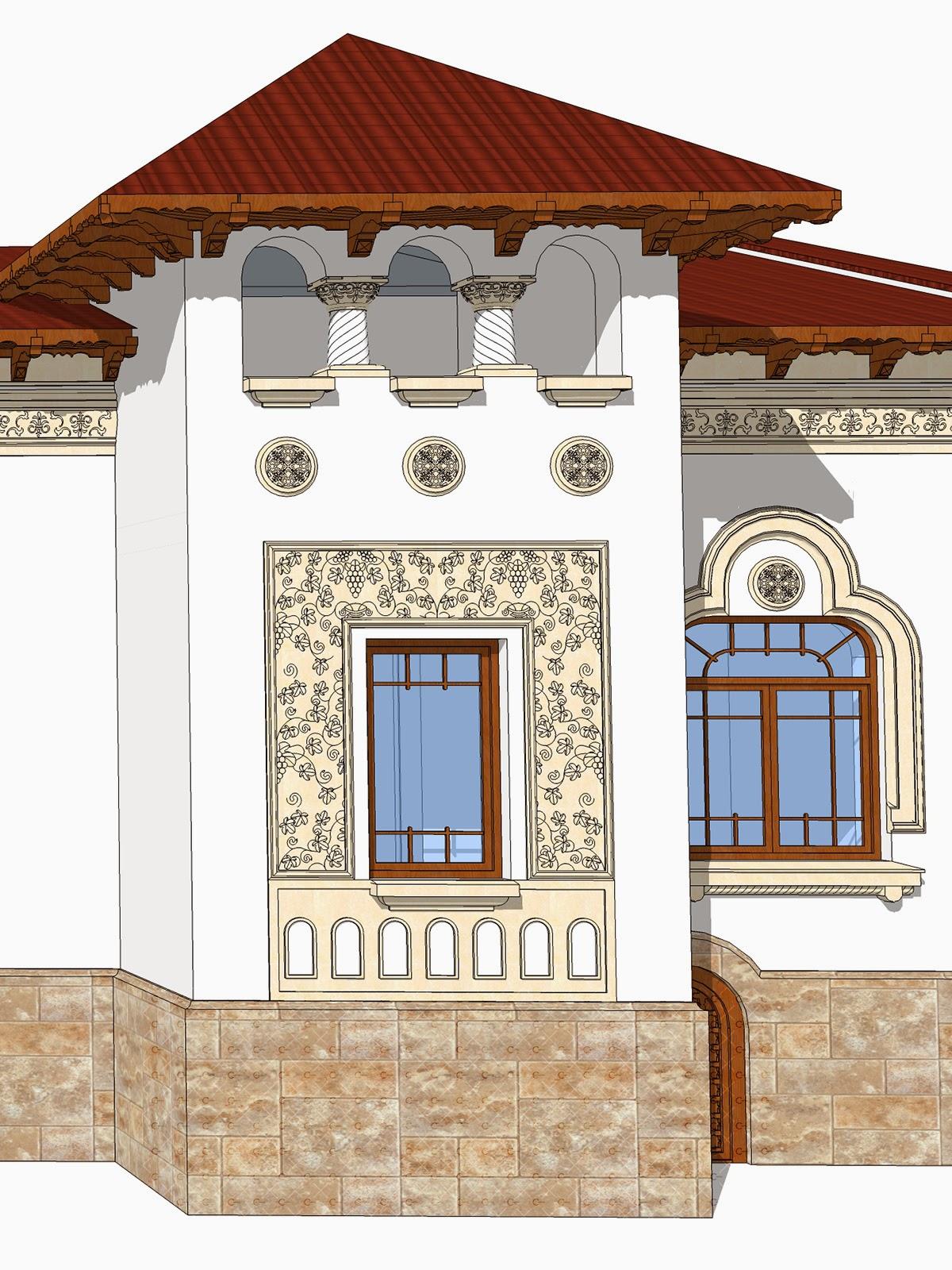 geam neoromanesc proiect fatade case facut de arhitect paun, profile decorative neoromanesti
