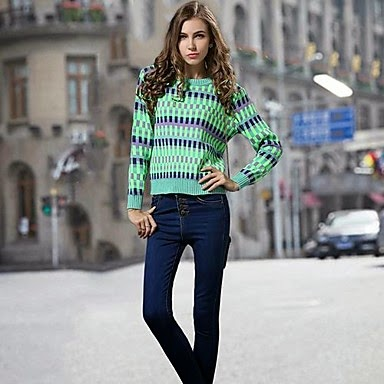 ladies green and blue liner abstract sweater