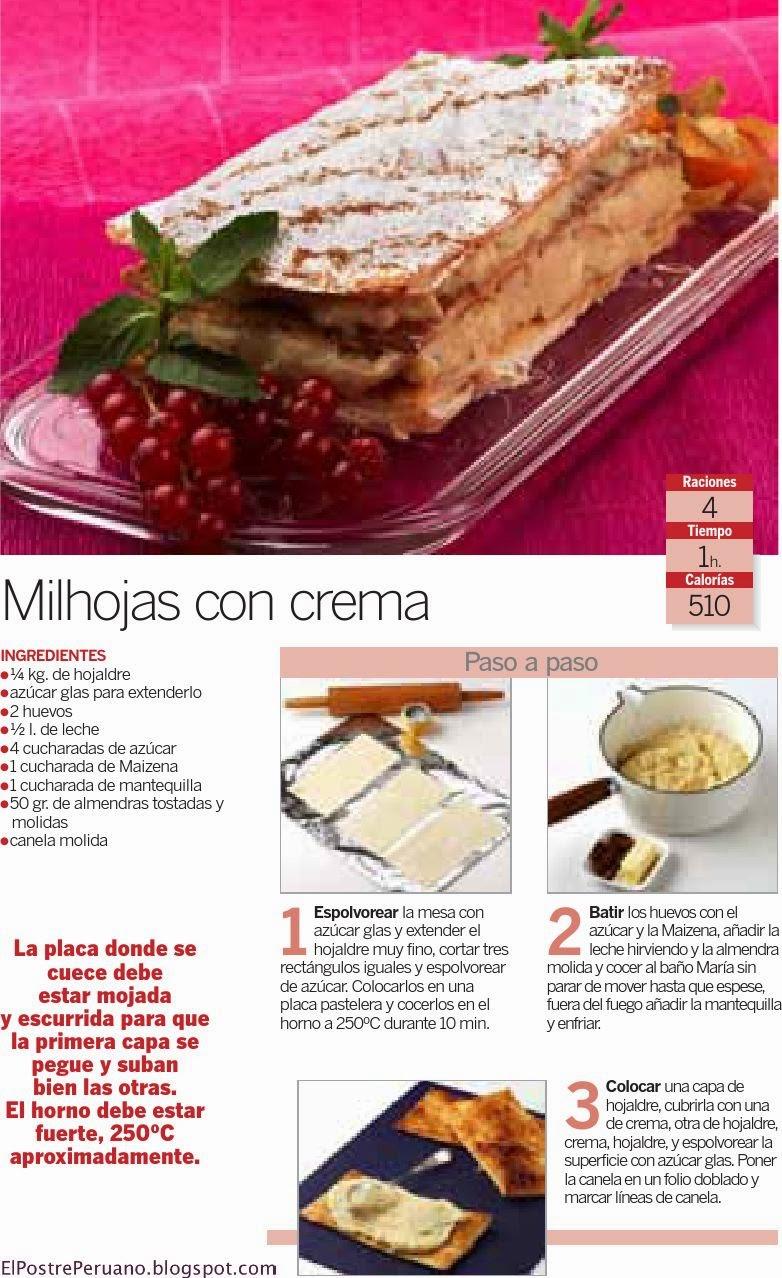 delicias RECETA SENCILLA DE MILHOJAS CON CREMA - REPOSTERIA FACIL