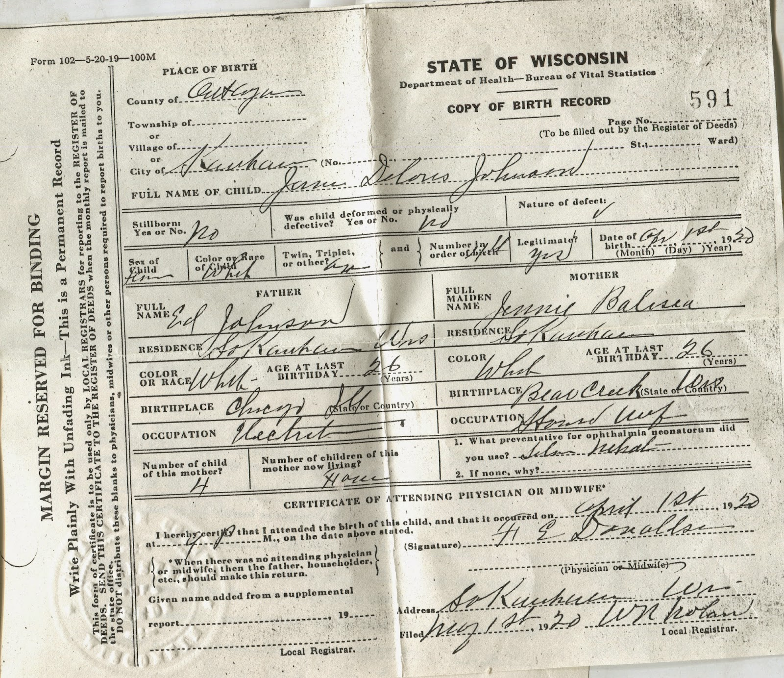 Prairie lakes journeys from a two spirited view johnson family while i was sitting in ron and dolores kitchen at the table ron discovered he had 2 important documents about his mom here is her birth certificate xflitez Gallery