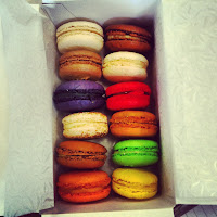 A photo of an array of macaroons in a range of flavours