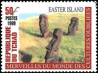Maravillas del mundo de las culturas olvidadas, sello de Chad con imagen de la Isla de Pascua, 1999