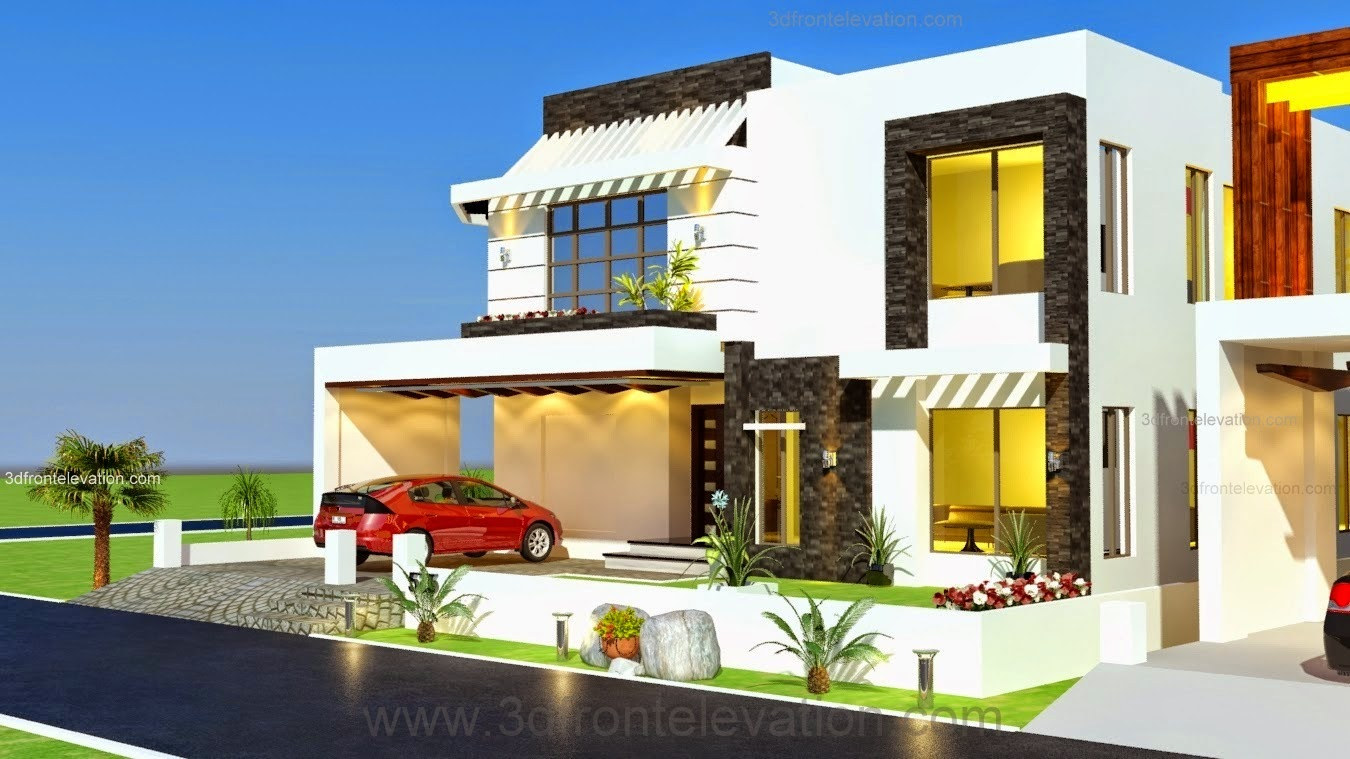 3d front 1 kanal house drawing floor plans for One kanal house plan