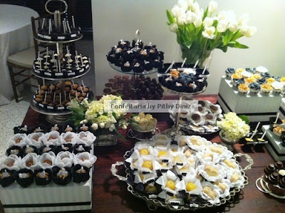 pb6 Festa Black & White + Mesa de doces Confeitaria