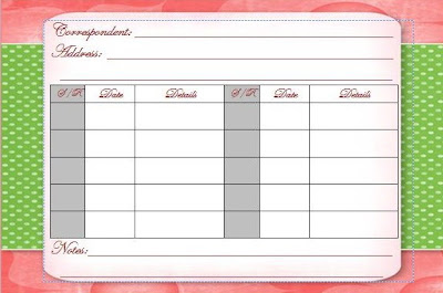 Free Printable Correspondent Card for tracking Correspondence