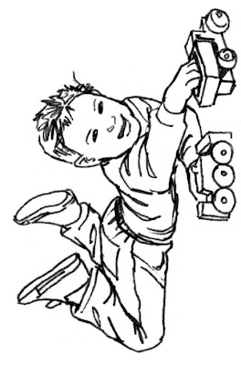 car boy coloring page
