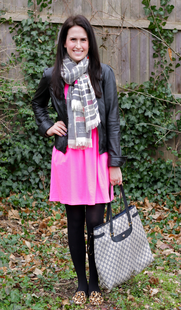 bright pink dress, kate spade scarf