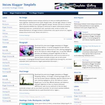Bacen blogger template. simple and minimalist design template blogger