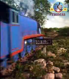 Thomas and friends Gordon the big blue engine ignored the go slow warning signs on the branch line